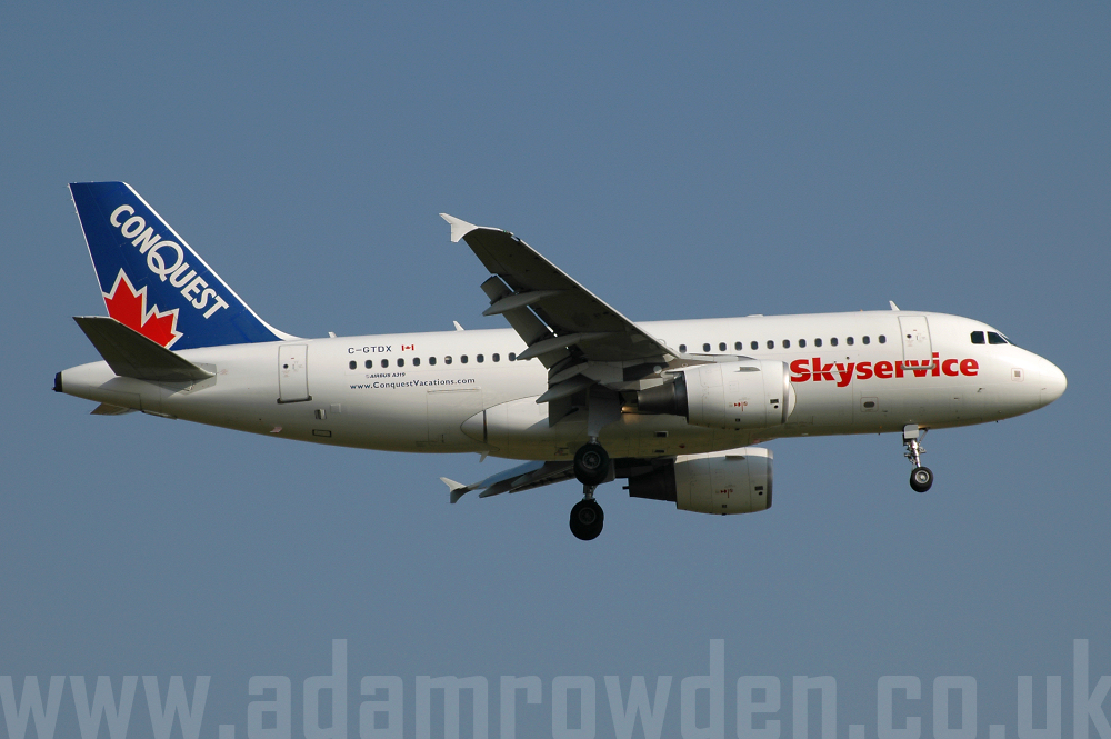 Photo of Skyservice Airlines Airbus A319-112 C-GTDX (cn 1846) at London Stansted Airport (STN) on 17th August 2005