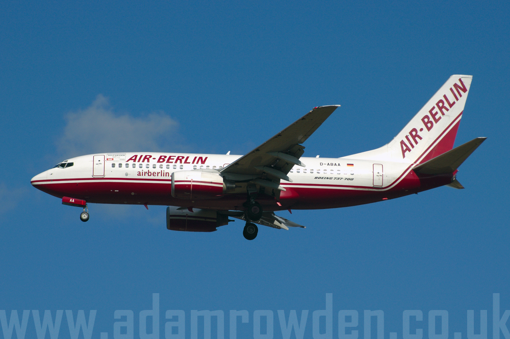 Photo of Air Berlin Boeing 737-76Q D-ABAA (cn 30271/740) at London Stansted Airport (STN) on 26th August 2005