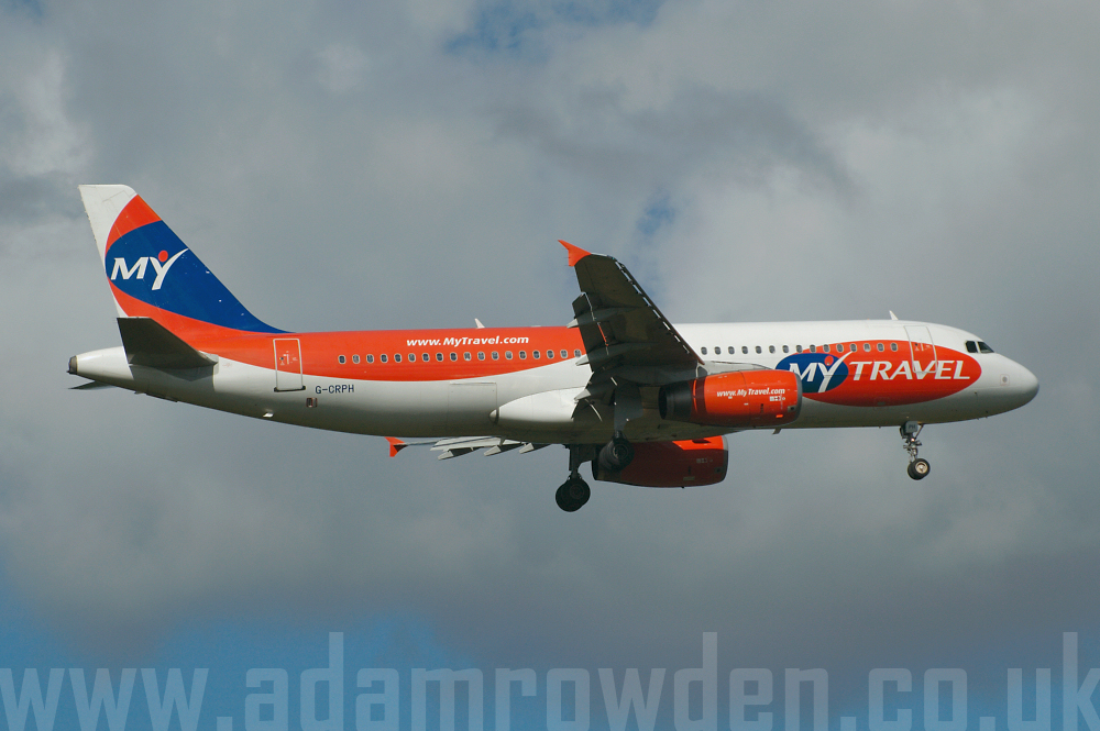 Photo of MyTravel Airways Airbus A320-231 G-CRPH (cn 424) at Manchester Ringway Airport (MAN) on 16th September 2005