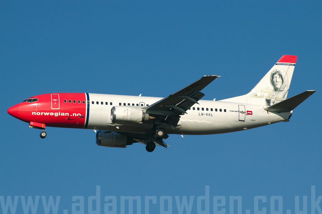 Photo of Norwegian Air Shuttle Boeing 737-36N LN-KKL (cn 28671/2955) at London Stansted Airport (STN) on 27th October 2005