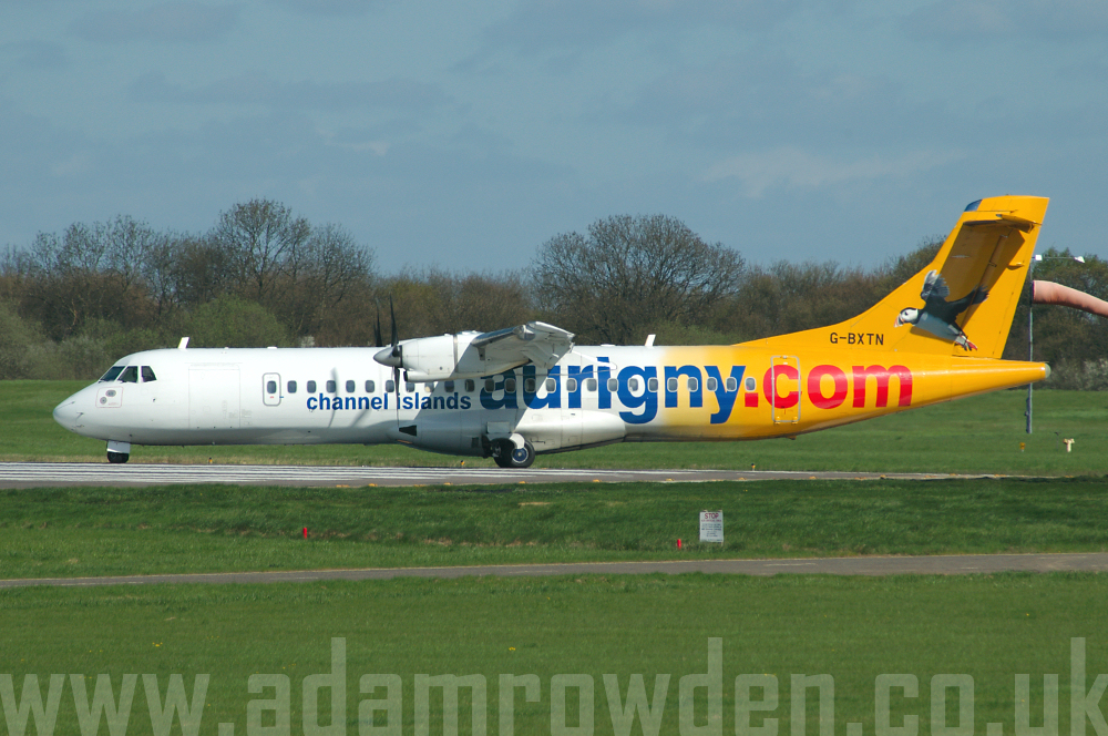 Photo of Aurigny Air Services Aérospatiale ATR-72-202 G-BXTN (cn 483) at London Stansted Airport (STN) on 28th April 2006