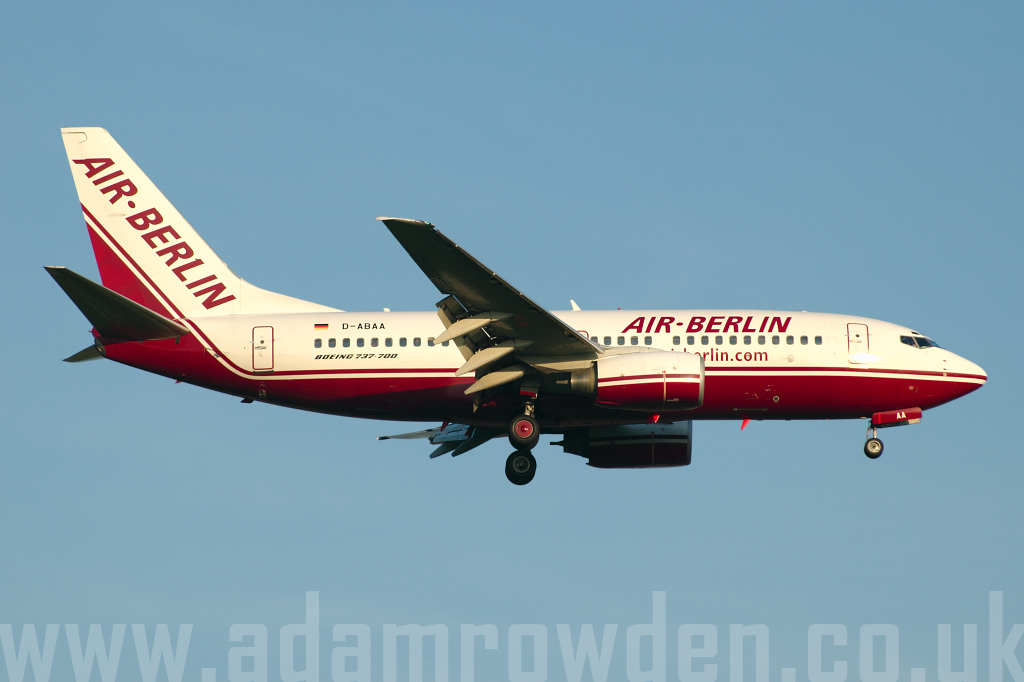 Photo of Air Berlin Boeing 737-76Q D-ABAA (cn 30271/740) at London Stansted Airport (STN) on 3rd May 2006