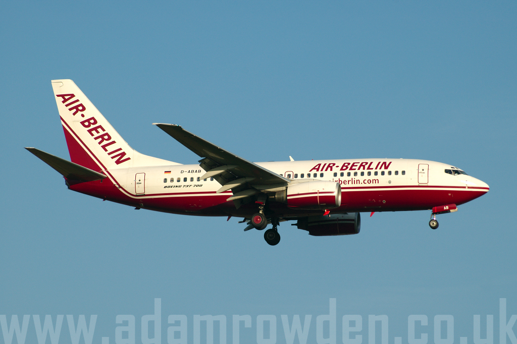 Photo of Air Berlin Boeing 737-76Q D-ABAB (cn 30277/947) at London Stansted Airport (STN) on 3rd May 2006