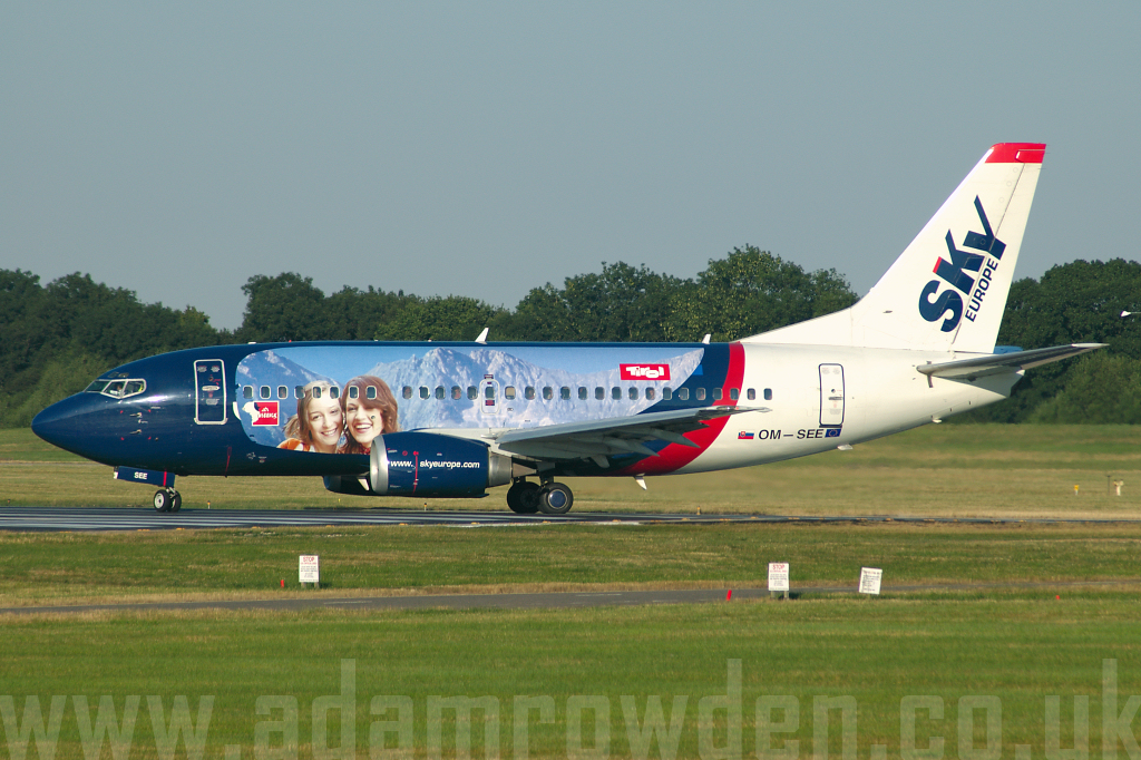 Photo of SkyEurope Airlines Boeing 737-53C OM-SEE (cn 24827/2243) at London Stansted Airport (STN) on 18th July 2006