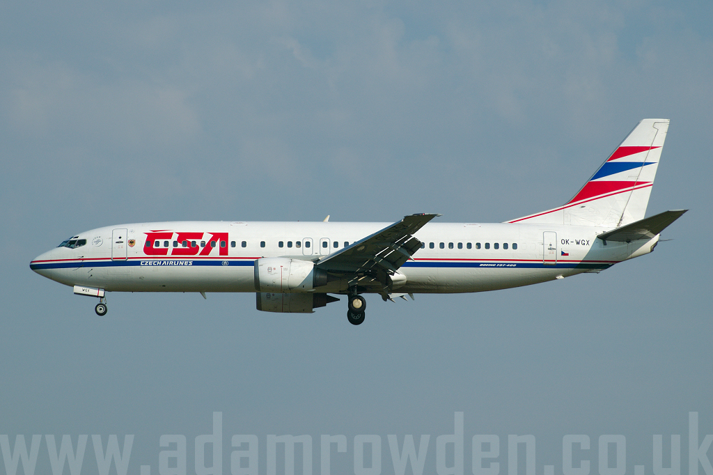 Photo of Czech Airlines Boeing 737-436 OK-WGX (cn 25839/2188) at London Stansted Airport (STN) on 19th July 2006