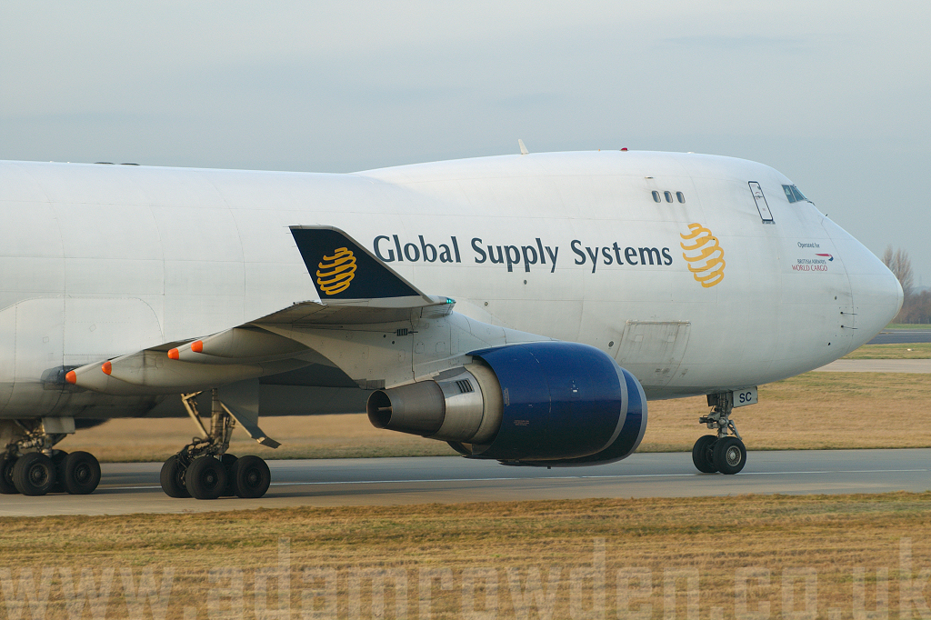 Photo of Global Supply Systems (opf British Airways World Cargo) Boeing 747-47UF G-GSSC (cn 29255/1184) at London Stansted Airport (STN) on 28th December 2006