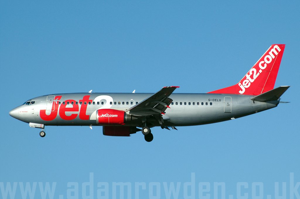 Photo of Jet2 Boeing 737-33A G-CELU (cn 23657/1280) at Newcastle Woolsington Airport (NCL) on 20th January 2007