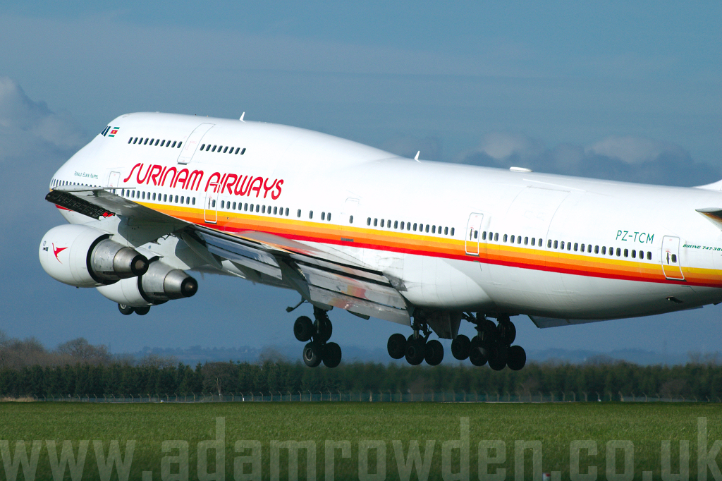 Photo of Surinam Airways Boeing 747-306M PZ-TCM (cn 23508/657) at Newcastle Woolsington Airport (NCL) on 8th March 2007