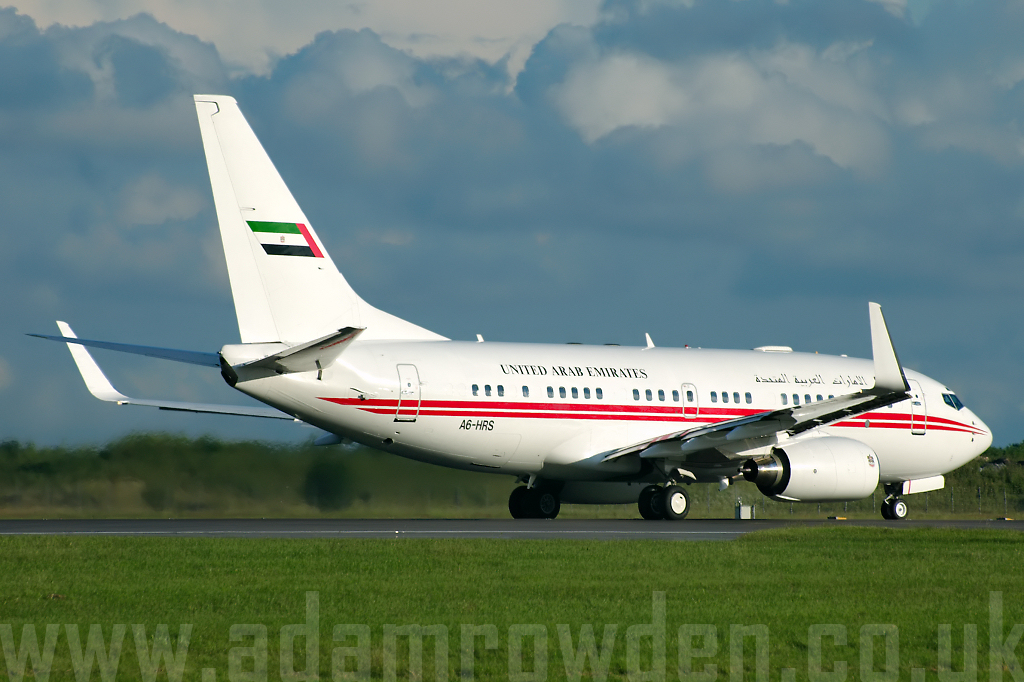 Photo of Dubai Air Wing Boeing 737-7E0 (BBJ1) A6-HRS (cn 29251/150) at London Stansted Airport (STN) on 25th June 2007