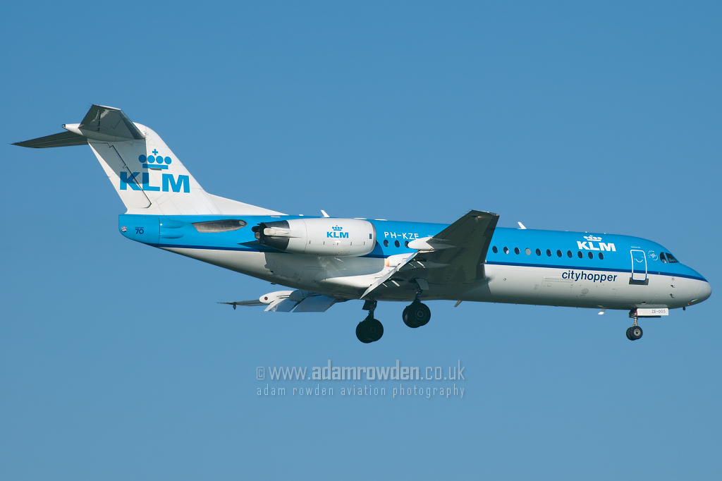 Photo of KLM Cityhopper Fokker 70 PH-KZK (cn 11576) at Newcastle Woolsington Airport (NCL) on 10th February 2008