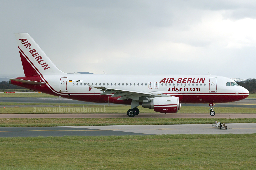 Photo of Air Berlin Airbus A319-111 D-ABGE (cn 3139) at Manchester Ringway Airport (MAN) on 24th March 2008