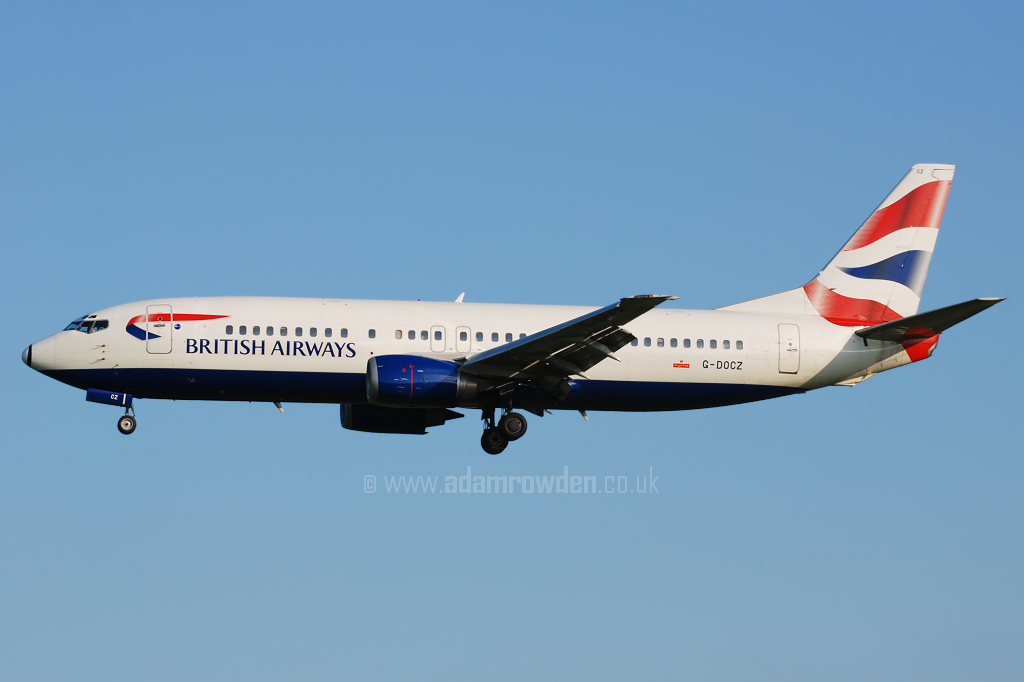 Photo of British Airways Boeing 737-436 G-DOCZ (cn 25858/2522) at Manchester Ringway Airport (MAN) on 13th May 2008