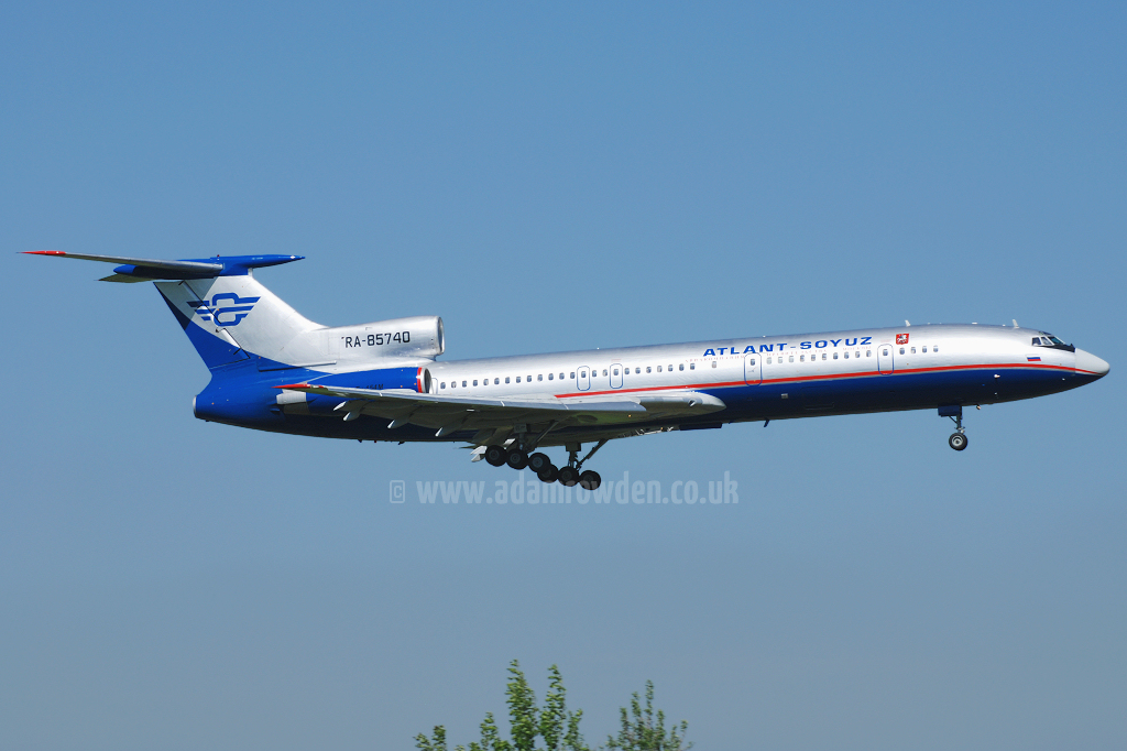 Photo of Atlant-Soyuz Airlines Tupelov Tu-154M RA-85740 (cn 91A895) at Manchester Ringway Airport (MAN) on 14th May 2008