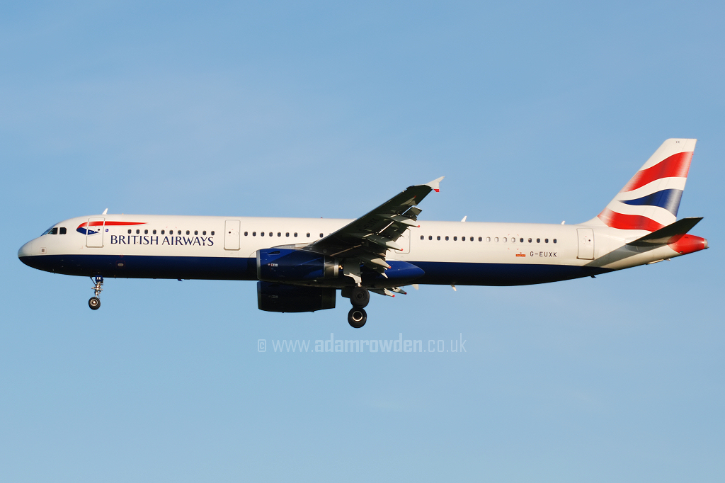 Photo of British Airways Airbus A321-231 G-EUXK (cn 3235) at Newcastle Woolsington Airport (NCL) on 19th May 2008