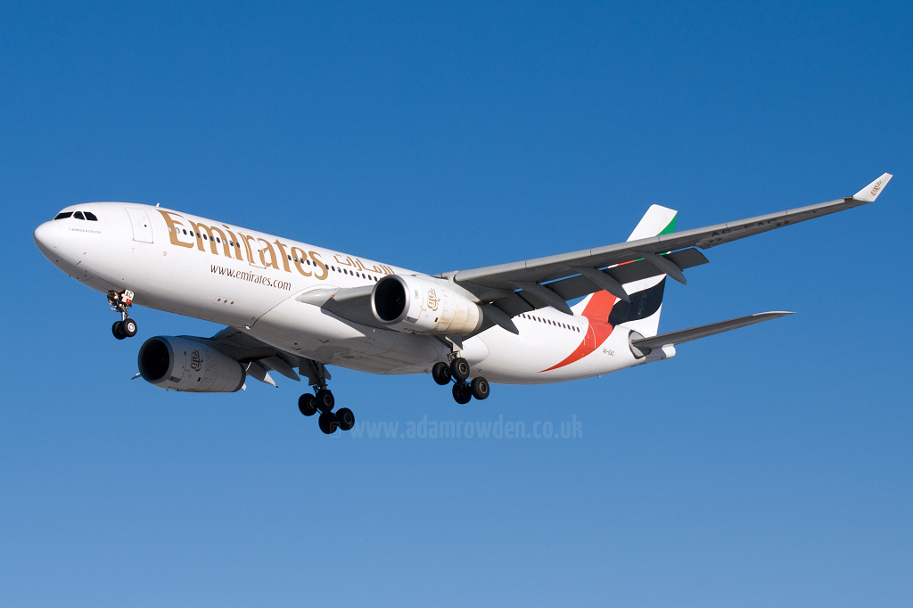 Photo of Emirates Airbus A330-243 A6-EAC (cn 372) at Newcastle Woolsington Airport (NCL) on 6th February 2009
