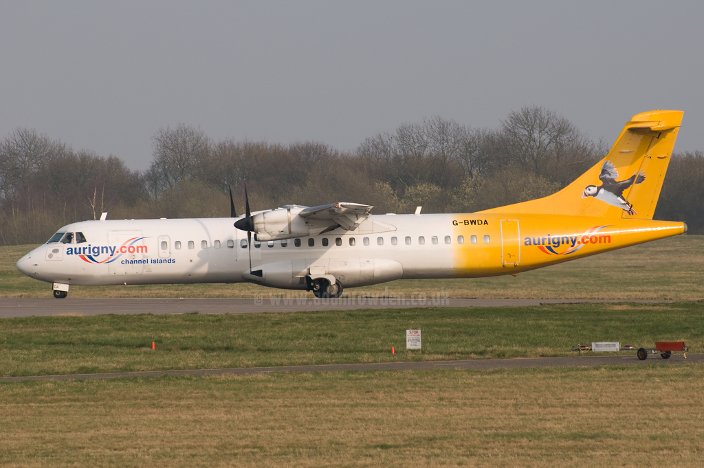 Photo of Aurigny Air Services Aérospatiale ATR-72-202 G-BWDA (cn 444) at London Stansted Airport (STN) on 21st March 2009