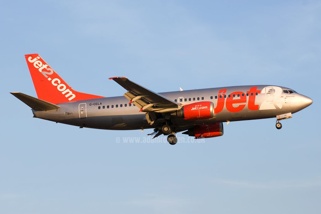 Photo of Jet2 Boeing 737-377(QC) G-CELA (cn 23663/1323) at Newcastle Woolsington Airport (NCL) on 24th May 2009