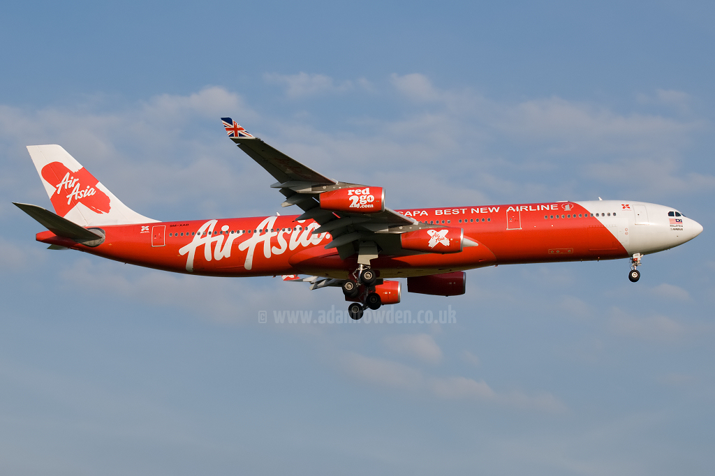 Photo of Air Asia X Airbus A340-313X 9M-XAB (cn 273) at London Stansted Airport (STN) on 30th June 2010