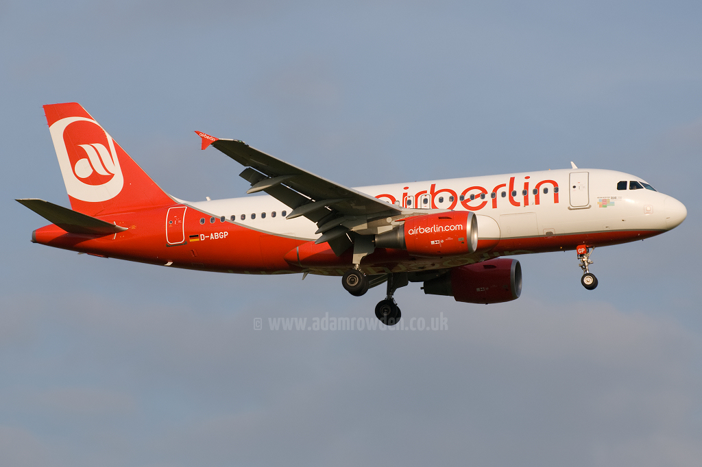 Photo of Air Berlin Airbus A319-112 D-ABGP (cn 3728) at London Stansted Airport (STN) on 30th June 2010
